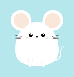 White mouse icon funny head face cute kawaii vector