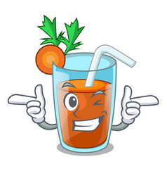 Wink homemade carrot smoothie in cartoon glass vector