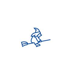 witch on a broomstick line icon concept witch on vector image