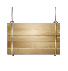 Wooden board sign hanging on a rope vector
