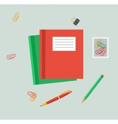 Work Table Tablet and Document Design Flat vector