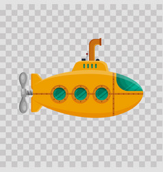 Yellow submarine with periscope on transparent vector