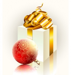 Christmas gift and ball vector image vector image