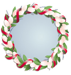 circle frame with tulips in red ribbon with vector image
