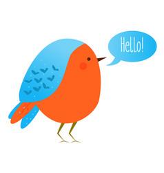 cute kawaii bird with speech bubble saying hello vector image vector image
