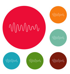 equalizer wave sound icons circle set vector image vector image