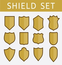 Gold shield set vector image vector image