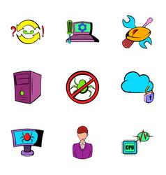 hacker icons set cartoon style vector image