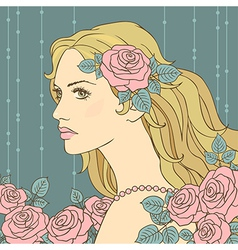 hair girl rose vector image vector image