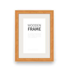 Wooden Rectangle Frame Natural vector image