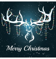 deer White silhouette Marry Christmas vector image vector image