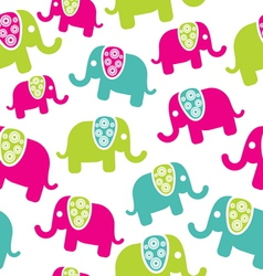 Seamless retro elephant pattern vector image vector image