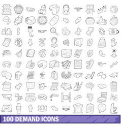 100 demand icons set outline style vector image vector image
