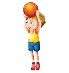 A cute boy playing basketball vector image vector image