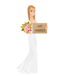 Bride holding plate with text just married vector