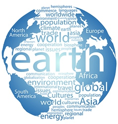 Global earth world word cloud tags vector image vector image