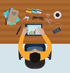 Man working on tablet vector image vector image