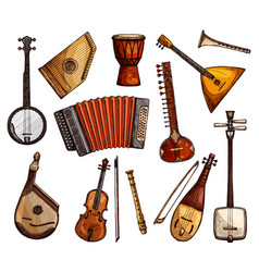 Ethnic musical instruments sketches set vector