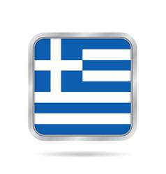 flag of greece shiny metallic gray square button vector image