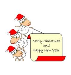 Funny Christmas cartoon sheep vector image