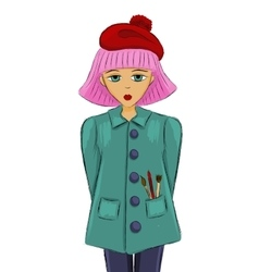girl artist with pink hair sketch vector image
