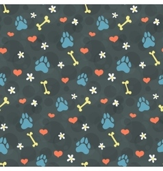 pattern with dogs paw prints vector image