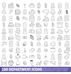 100 department icons set outline style vector