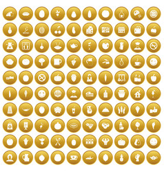 100 vegetarian cafe icons set gold vector