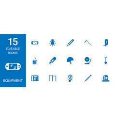 15 equipment icons vector