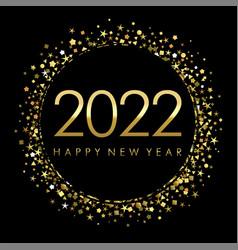 2022 on black label with gold glitter confetti vector