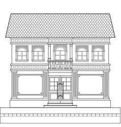 a drawing of a classic brick two-story building vector image