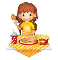 A young girl eating at the fastfood restaurant vector image