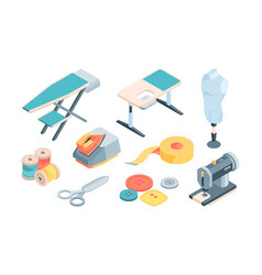Accessories tailor isometric set sewing equipment vector