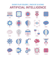artificial intelligence icon dusky flat color vector image