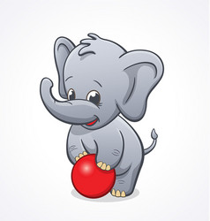 Baby elephant playing with red ball vector