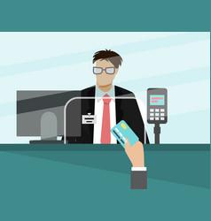 Bank cashier teller behind window vector