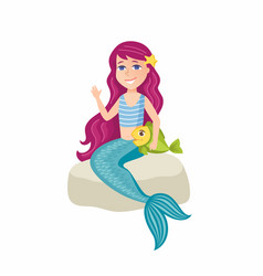 Beautiful little mermaid - cartoon people vector