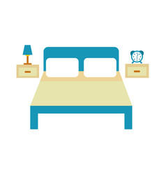 Bed hotel with nightstand vector