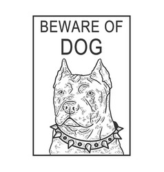 Beware angry dog sketch engraving vector
