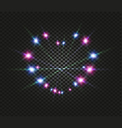 Blue and pink light luminous effect on dark black vector