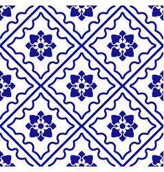 Blue and white pattern flower vector
