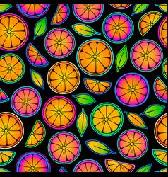 Bright pattern citrus slice in an acidic vector
