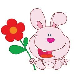 Bunny with flower cartoon vector