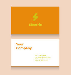 Business card template with electric logo vector