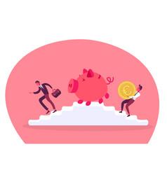 Businessman carrying euro coin piggy bank ladder vector