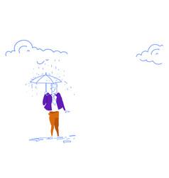 businessman standing under rain holding umbrella vector image