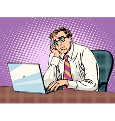 Businessman working on laptop boredom vector