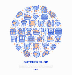 Butcher shop concept in circle with thin line icon vector