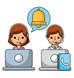call center girl and boy book address helpline vector image