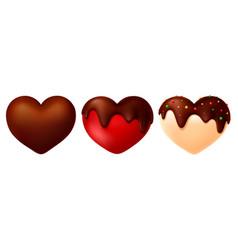 Candy heart shape chocolate glaze vector
